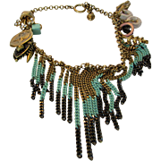 Vintage Juicy Couture Necklace Quirky Collection of Odds With Faux Turquoise and Black Metal Fringe