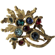 Vintage BSK Goldtone Pin With a Variety of Cuts and Colors of Crystals