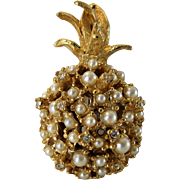 Vintage Alice Caviness Golden Pineapple Decorated With Faux Pearls
