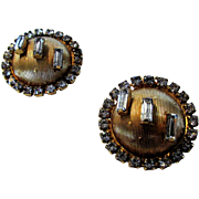 Hobe Goldtone Button Clip On Earrings With Clear Crystal Baguettes