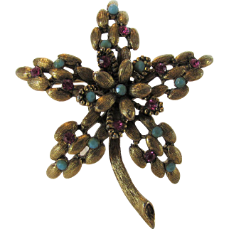 Vintage Signed BSK Pin in Floral Form Decorated With Faux Turquoise and Faux Rubies