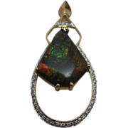 14K Yellow Gold 6 ct Ammolite Pendant Enhanced by 1 ct of Diamonds
