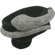 14 Karat White Gold 5 ct. Snake Bangle with Double Safety Clasps