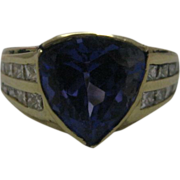 14K Yellow Gold 4.2 ct Deep Blue/Purple Tanzanite with 1 ct of Diamond