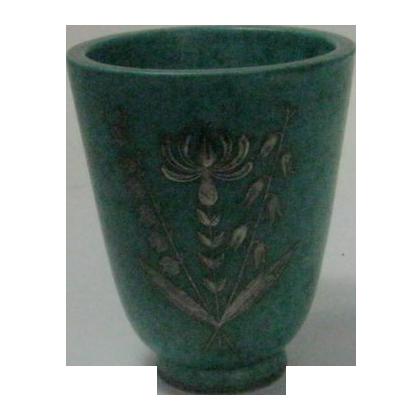 Sweden's Famous Gustavberg Argenta with Sterling Silver Overlay Vase