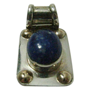 Vintage Lapis Lazuli Pendant in Sterling signed Plata