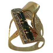 18 Karat Yellow Gold Custom Contemporary Tsavorite and Diamond Ring