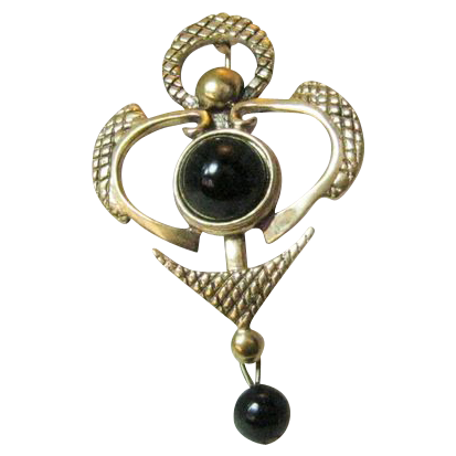 Vintage Black Glass Cabochon and Bead Pin Signed Levine