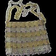 Rare Walborg Silver & Gold Metal Shoulder Bag Purse