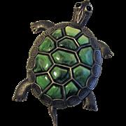 Vintage Large Turtle Jointed Pendant