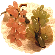 Pair of Vintage Agate, Rose Quartz Grape Clusters