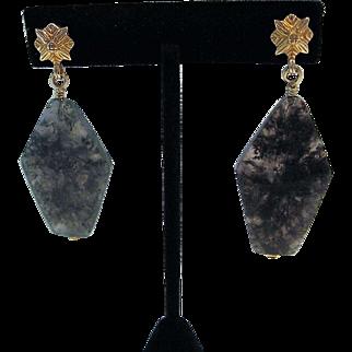 Vintage Stephen Dweck Moss Agate Earrings