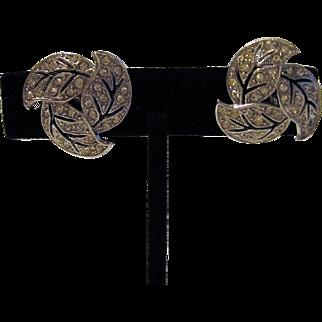 Ora Crystal Rhinestone Leaf Earrings