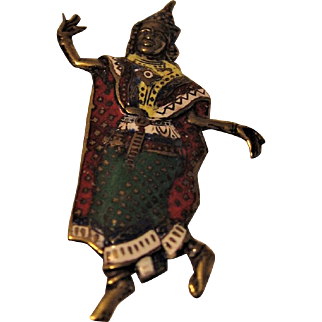 Vintage SIAM Enamel Dancer Brooch