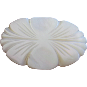 Carved Mother of Pearl Flower Pin Brooch
