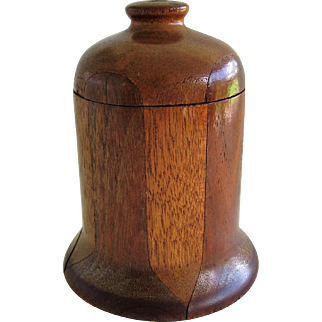 Unusual Wooden Marquetry Bell Shaped Container
