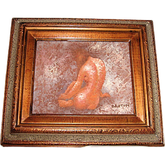 Nude Female Texture Oil Painting Signed Barton