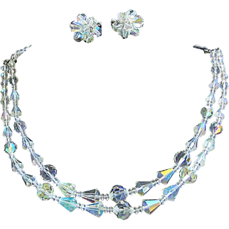 Vendome Aurora Borealis Crystal Necklace and Earrings