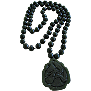 Vintage Jade beaded Necklace with Hand Carved Pendant