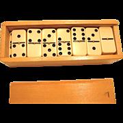 Vintage Set of 28 Dominoes in Wooden Box