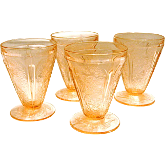 Four Cherry Blossom Tumblers by Jeannette Glass