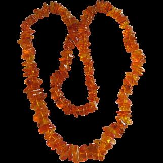 Amber Polished Nugget Necklace