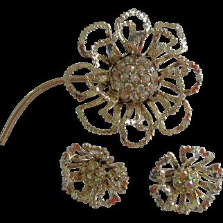 Vintage Sarah Coventry Flower Brooch & Earrings Set