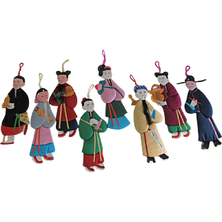 Vintage Paper Cloth Doll Ornaments from The People's Republic of China