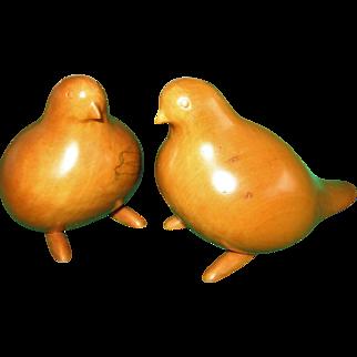 Pair of Virgil Ledford Hand Carved Wooden Birds