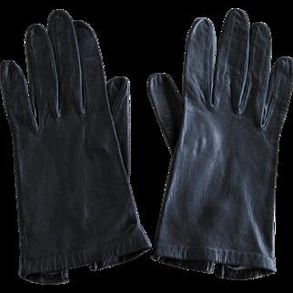 Vintage Ladies Black Leather Gloves by Miss Aris Size 6