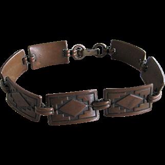 Vintage Indian Copper Panel Link Bracelet