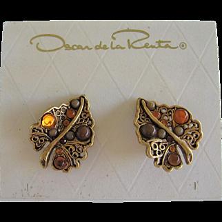 Oscar De La Renta Gold Tone Clip Earrings