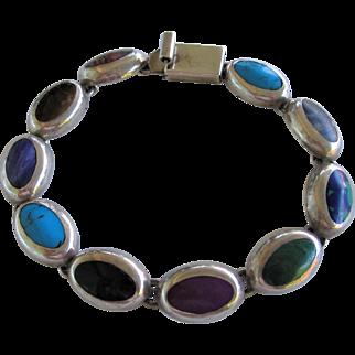 Vintage 950 Mexico Sterling Silver Agate Bracelet