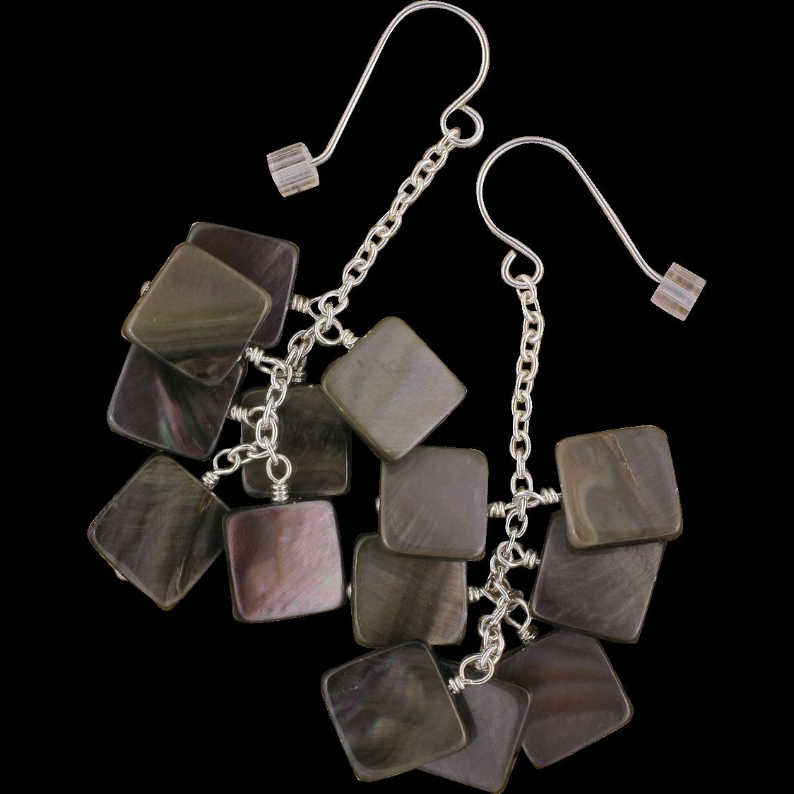 Black Lip Shell Brownie Earrings in Sterling Silver