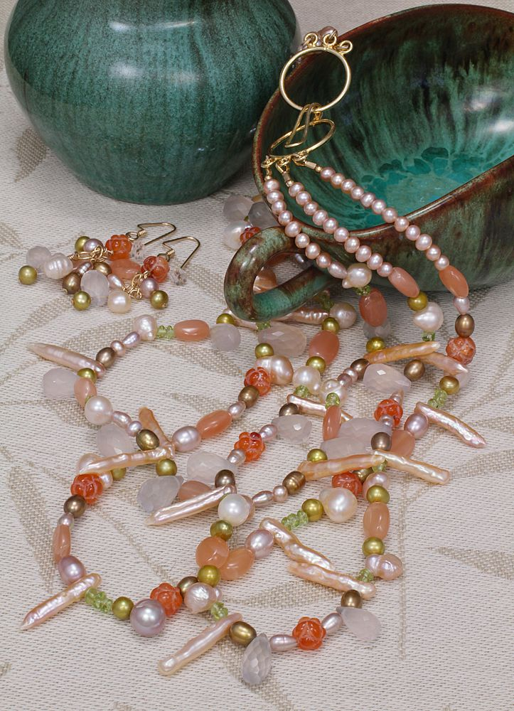 Multi-Gemstone Triple Strand Necklace and Earrings Set