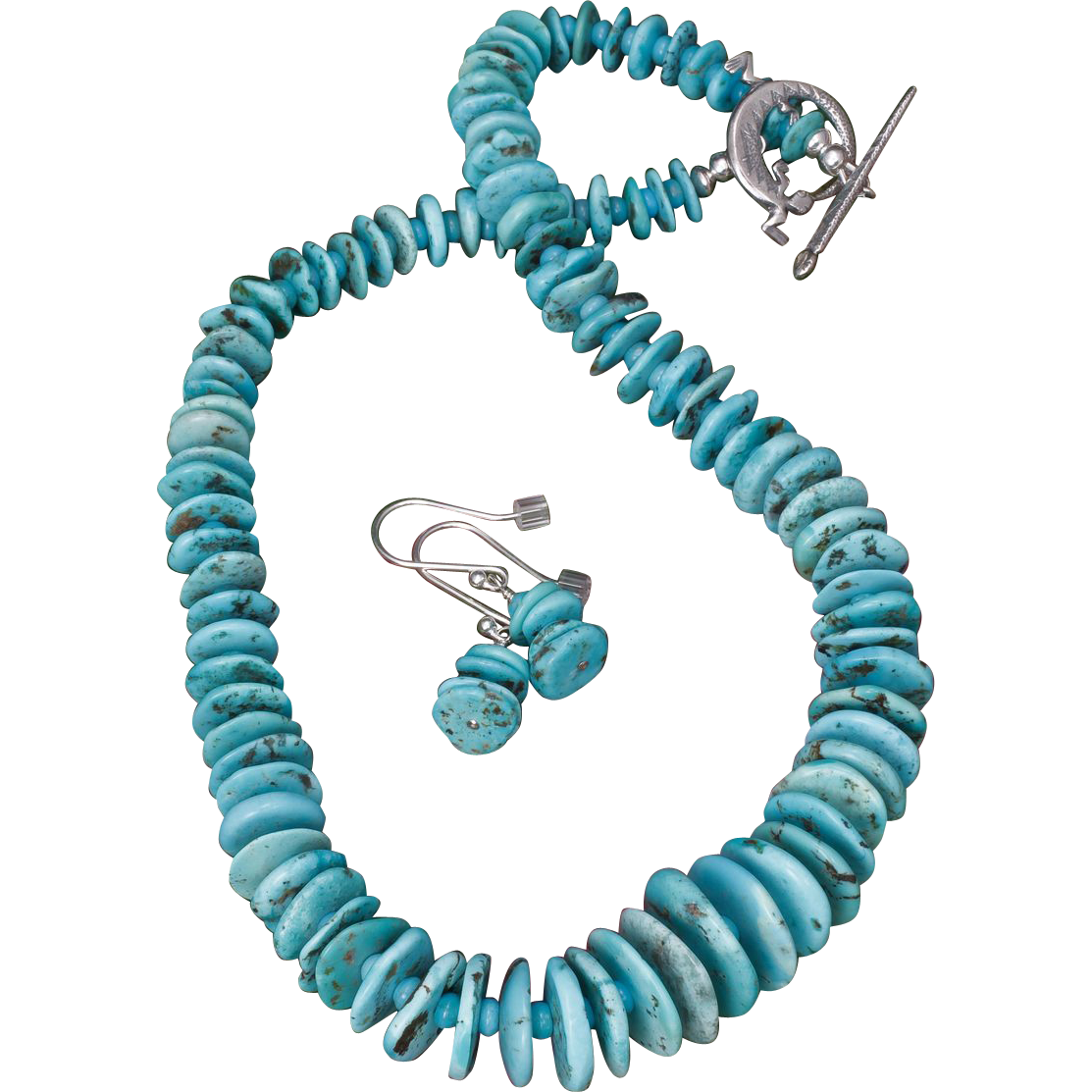 Turquoise Necklace of Graduated Discs with Earrings