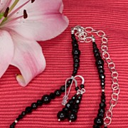Jet Black  Swarovski Crystal Necklace and Earrings in Sterling Silver
