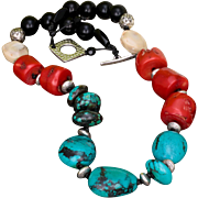 Turquoise, Coral and Black Onyx knotted Necklace in Greek Leather
