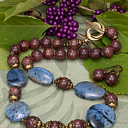 Shimmering Nights Necklace with Dumortierite and Muscovite with Brass
