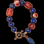 Brassy Blue and Orange Bracelet