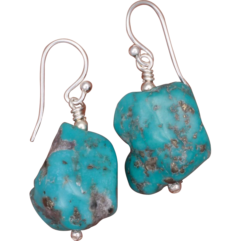 turquoise nuggets earrings from sundancegems on ruby