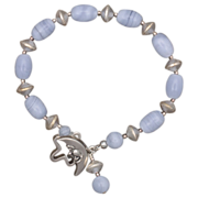 Blue Lace Agate and Silver Bracelet