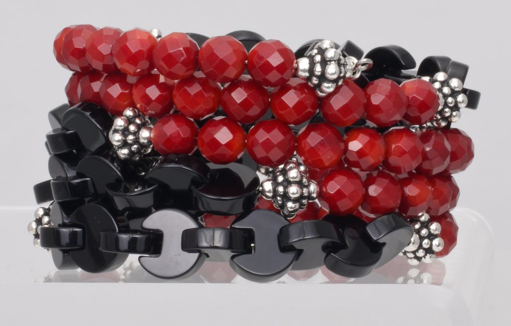 Stacked Bracelet of Red Coral and Black Onyx
