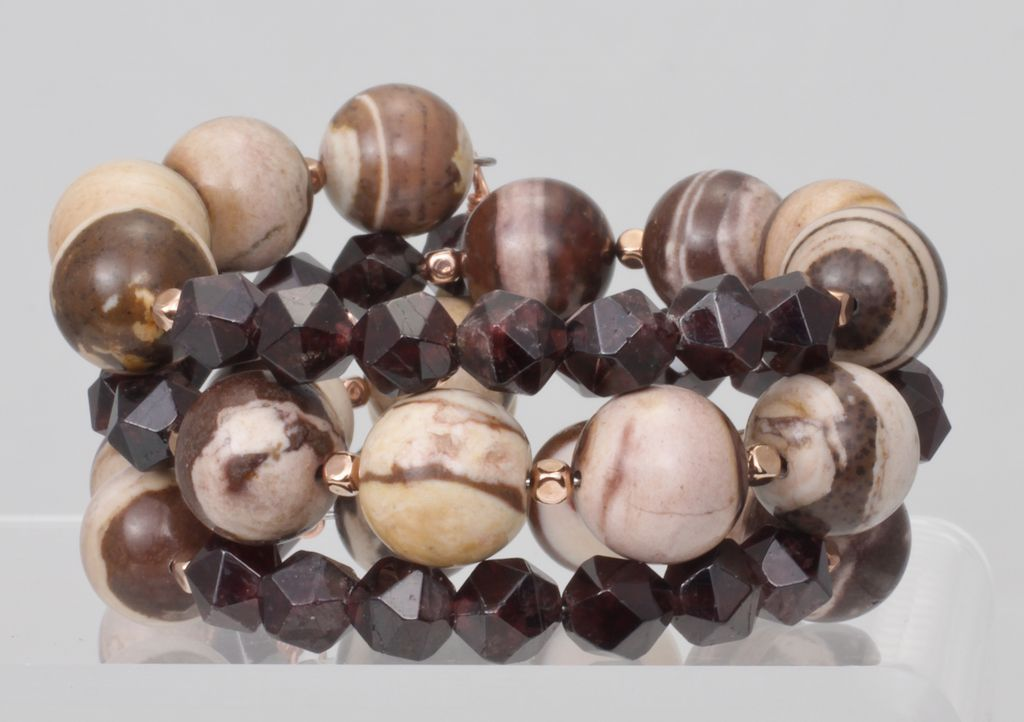 Stacked Bracelet of Zebra Jasper and Garnets