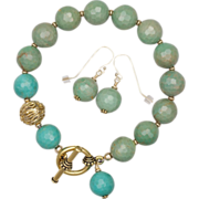 Faceted Turquoise Bracelet and Earrings Set