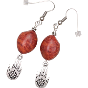 Sponge Coral Earrings with Protection Hand Charm