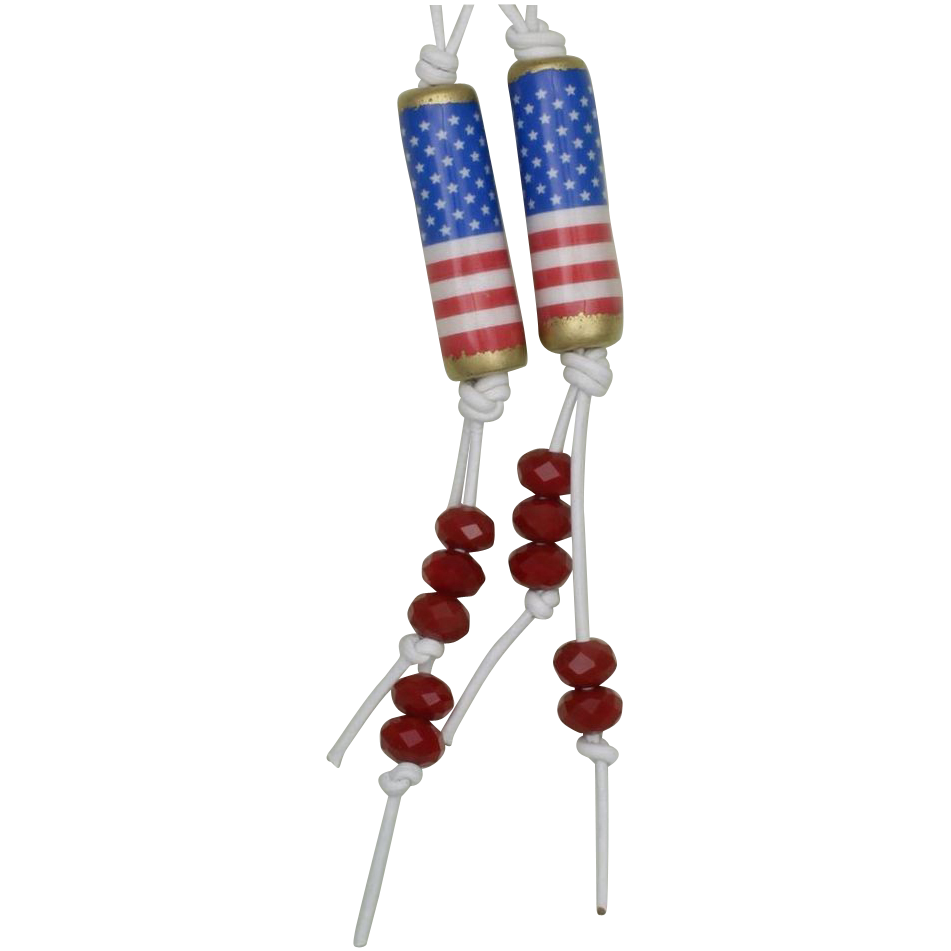Wave the Red, White and Blue! Patriotic Paper Bead Earrings (2)