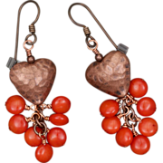 Copper Heart and Coral Earrings