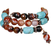 Stacked Bracelet of Blue Magnesite and Orange Carnelian