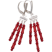Sterling Silver and Red Coral Chandelier Earrings